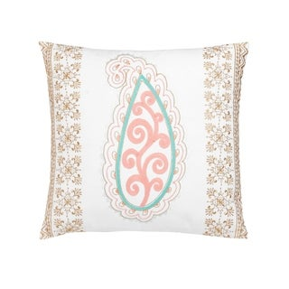 """Dena Home Marielle 20"""" Paisley Embroidered Decorative Pillow"""