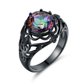 Black Rhodium & Rainbow Topaz Floral Engagement Ring - N/A