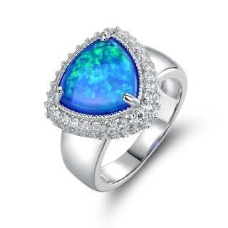White Rhodium Plated Blue Fire Opal & Cubic Zirconia Statement Ring - N/A