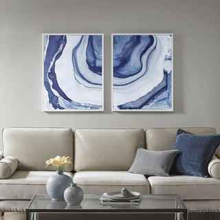 Madison Park Ethereal Blue Printed Framed Canvas Set Of 2