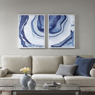 Madison Park Ethereal Blue Printed Framed Canvas Set Of 2