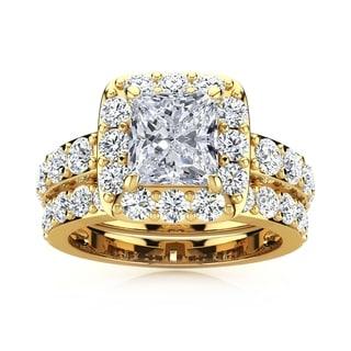 14k Yellow Gold 3 1/2ct Radiant and Round Diamond Bridal Set with 1 1/2ct Clarity Enhanced Center Diamond - White I-J