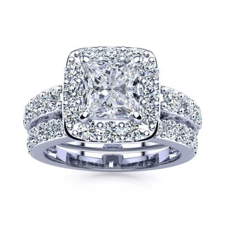 14k White Gold 3 1/2ct Radiant and Round Diamond Bridal Set with 1 1/2ct Clarity Enhanced Center Diamond - White I-J