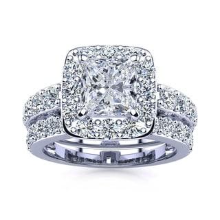 14k White Gold 3 1/2ct Radiant and Round Diamond Bridal Set with 1 1/2ct Clarity Enhanced Center Diamond - White I-J