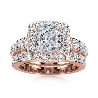 14k Rose Gold 3 1/2ct Radiant and Round Diamond Bridal Set with 1 1/2ct Clarity Enhanced Center Diamond - White I-J
