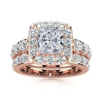 14k Rose Gold 3 1/2ct Radiant and Round Diamond Bridal Set with 1 1/2ct Clarity Enhanced Center Diamond - White I-J