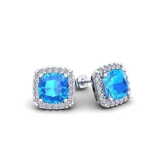 2 1/2 Carat TGW Cushion Cut Blue Topaz and Halo Diamond Stud Earrings In 14 Karat White, Yellow and Rose Gold