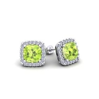 2 1/3 Carat TGW Cushion Cut Peridot and Halo Diamond Stud Earrings In 14 Karat White, Yellow and Rose Gold - Green