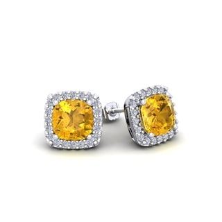 2 Carat TGW Cushion Cut Citrine and Halo Diamond Stud Earrings In 14 Karat White, Yellow and Rose Gold
