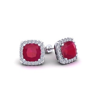 3 Carat TGW Cushion Cut Ruby and Halo Diamond Stud Earrings In 14 Karat White, Yellow and Rose Gold - Red