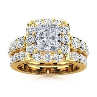14k Yellow Gold 4 1/2ct Radiant and Round Diamond Bridal Set with 2ct Clarity Enhanced Center Diamond - White I-J