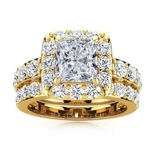 14k Yellow Gold 4 1/2ct Radiant and Round Diamond Bridal Set with 2ct Clarity Enhanced Center Diamond - White I-J