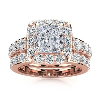 14k Rose Gold 4 1/2ct Radiant and Round Diamond Bridal Set with 2ct Clarity Enhanced Center Diamond - White I-J
