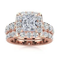 14k Rose Gold 4 1/2ct Radiant and Round Diamond Bridal Set with 2ct Clarity Enhanced Center Diamond - White I-J