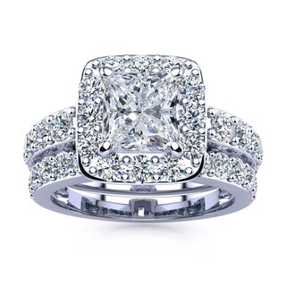 14k White Gold 4 1/2ct Radiant and Round Diamond Bridal Set with 2ct Clarity Enhanced Center Diamond - White I-J (More options available)