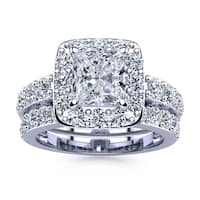 14k White Gold 4 1/2ct Radiant and Round Diamond Bridal Set with 2ct Clarity Enhanced Center Diamond - White I-J