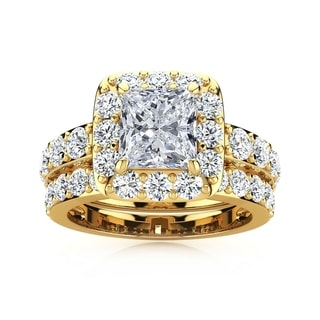 14k Yellow Gold 2 1/4ct Radiant and Round Diamond Bridal Set with 1ct Clarity Enhanced Center Diamond - White I-J