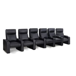 Octane Ace ZR400 Black Bonded Leather Recliner Home Theater Seating Set (Row of 6)