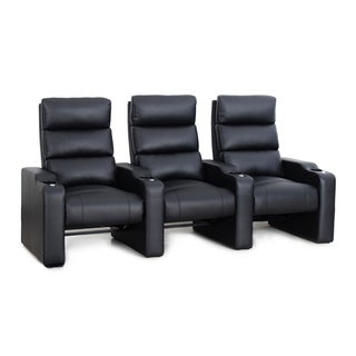 Octane Victory ZR550 Black Bonded Leather Recliner Home Theater Seating Set (Row of 3)