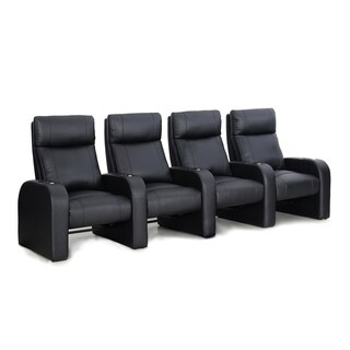 Octane Pulse ZR450 Black Bonded Leather Recliner Home Theater Seating Set (Row of 4)