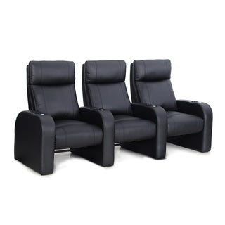 Octane Pulse ZR450 Black Bonded Leather Recliner Home Theater Seating Set (Row of 3)