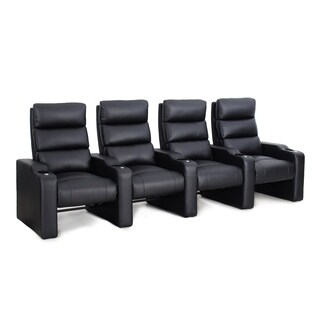 Octane Victory ZR550 Black Bonded Leather Recliner Home Theater Seating Set (Row of 4)