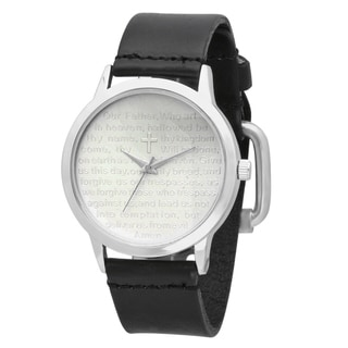 """Steeltime Men's Stainless Steel """"Our Father"""" Prayer Watch in 3 colors"""