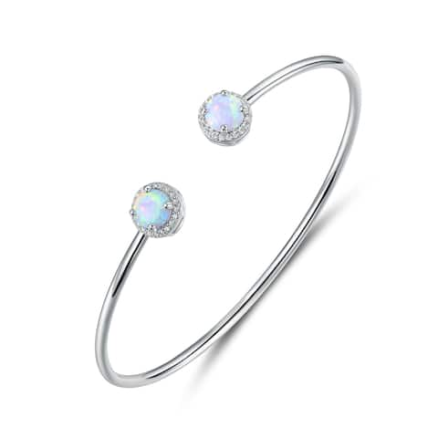 White Gold Plated Halo-Cut White Fire Opal & Cubic Zirconia Open Cuff