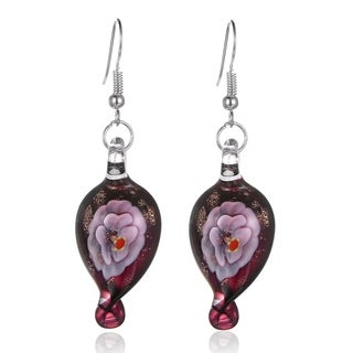 Bleek2Sheek Handmade Jewelry Italian Murano Inspired Glass Carnation Twisted Teardrop Hypoallergenic Earrings