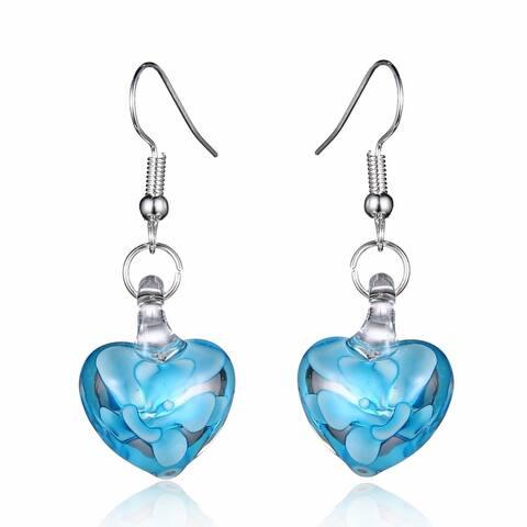 Bleek2Sheek Handmade Jewelry Italian Murano Inspired Glass Flower in Clear Glass Heart Fashion Earrings