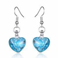 Bleek2Sheek Handmade Jewelry Italian Glass Flower in Clear Glass Heart Fashion Earri