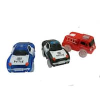 Magic Twister Light Up Glow In The Dark Tracks 3-piece Emergency Vehicles