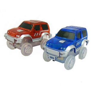 Magic Twister Light Up Glow In the Dark Tracks 2-piece Race Jeep Vehicles