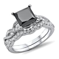Noori 14k White Gold 1 3/4ct TDW Black Princess-cut Diamond Bridal Ring Set