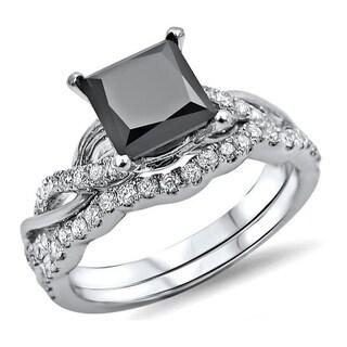 Noori 14k White Gold 1 3/4ct TDW Black Princess-cut Diamond Bridal Ring Set