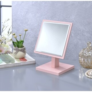 Ore International Square Pink Frame Beveled Vanity Pedestal Mirror