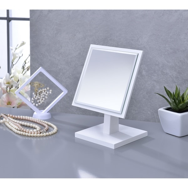 Ore International Square White Frame Beveled Vanity Pedestal Mirror