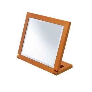 Ore International Rectangle Walnut Frame Beveled Vanity Tilted Mirror - Brown