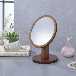 Ore International Round Walnut Frame Vanity Top Pedestal Mirror - Brown