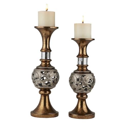 Ore International Langi Home Décor Floral Candleholder (Set of 2)