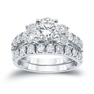 Auriya 14k Gold 1 1/4ctw Round Diamond Engagement Ring Set