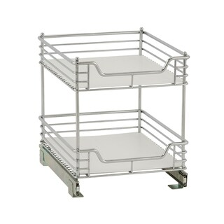 2-Tier 14.5-inch Glidez Sliding Under-Cabinet Organizer, Chrome With Liner