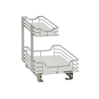 Standard 2-Tier 12.5-inch Glidez Sliding Under-Sink Organizer, Chrome and White Liner