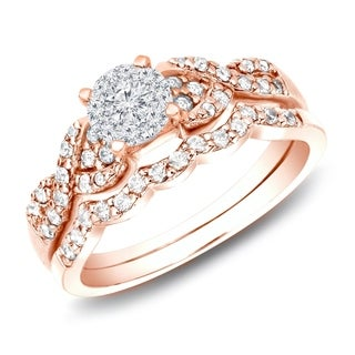 Auriya 14k Rose Gold 1/2ct TDW Braided Infinity Twist Diamond Engagement Ring Set