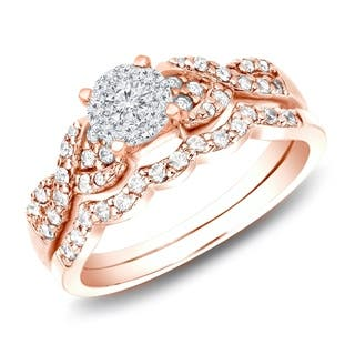 14k Rose Gold 1 2ct Tdw Braided Infinity Twist Diamond Engagement Ring Set By Auriya