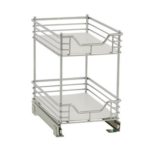 Standard 2-Tier 11.5-inch Glidez Sliding Under-Cabinet Organizer, Chrome and White Liner