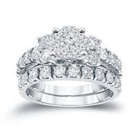 Auriya 14k Gold 1 1/4 ct TDW Round Diamond Bridal Ring Set - White H-I
