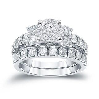 Auriya 14k Gold 1 1/4 ct TDW Round Diamond Bridal Ring Set - White H-I