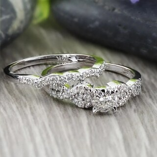 Auriya 14k Gold 1/2ct TDW Diamond Braided Bridal Ring Set - White H-I