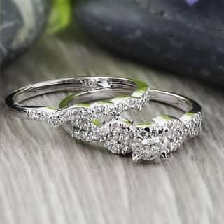 Auriya 14k Gold 1/2ctw Braided Round Diamond Engagement Ring Set